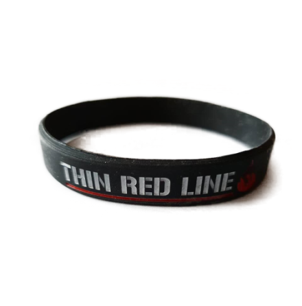 Thin Red Line Silicon Armband