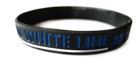 Thin White Line Silicon Armband